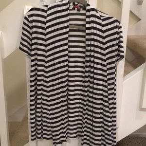 Black and white striped short sleeve jacket